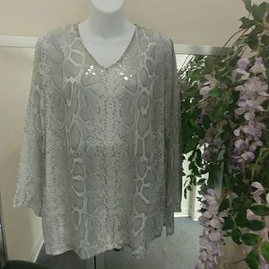 Peck & Peck Snakeskin & Sequin Tunic Top